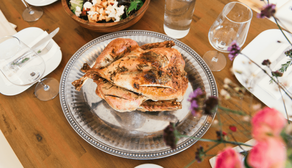Simple roast chicken with a sweet pomegranate citrus glaze that's easy to make.