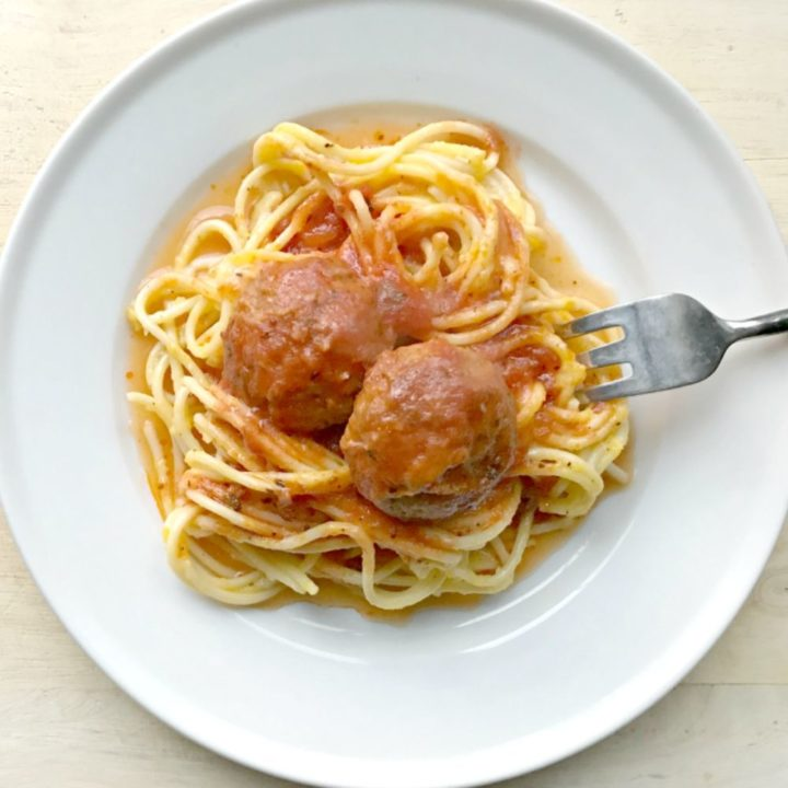 Spaghetti with easy homemade meatballs.