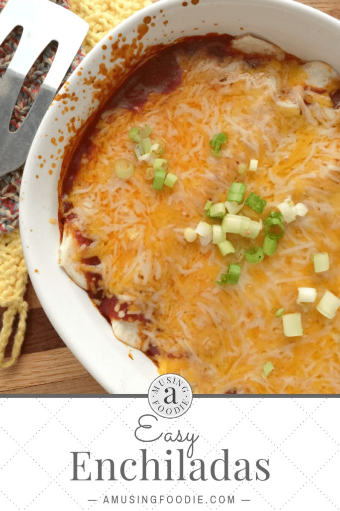 Save this recipe for easy enchiladas, simple to make and slathered with cheese.