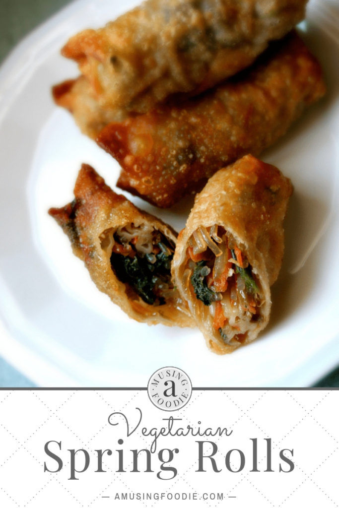 Make these homemade vegetarian spring rolls with crispy wonton wrappers and a savory vegetable filling and simple dipping sauce.