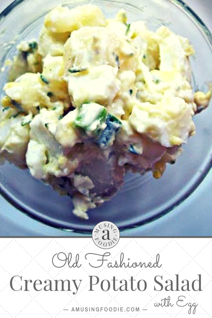 Perfect side dish to burgers and dogs on the grill, this old fashioned creamy potato salad with eggs is a huge favorite of ours!