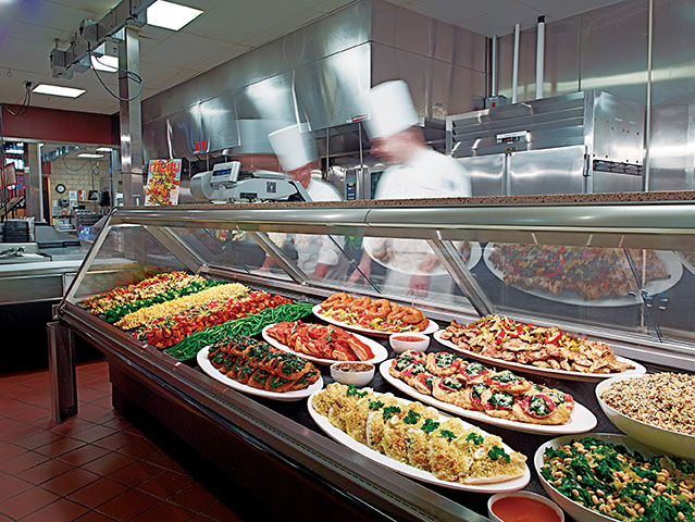 Prepared meals and buffet at Wegmans.