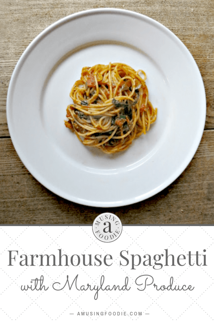 Farmhouse spaghetti is the product of a great CSA bag, full of wonderful in-season Maryland veggies.