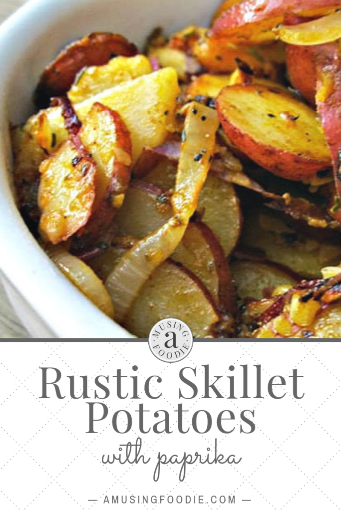 These rustic skillet potatoes with paprika are crispy around the edges and pillowy soft in the center. This recipe's a great way to stretch a few potatoes to feed a crowd!