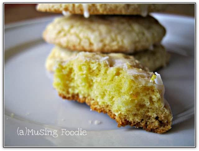 Lemon Cake Cookies with Lemon Zest Sugar Glaze
