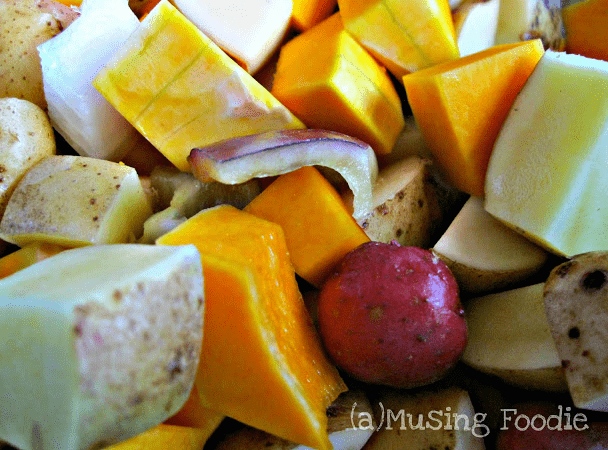Roast potatoes, butternut squash, peppers and onions are a great, tasty and simple side dish!