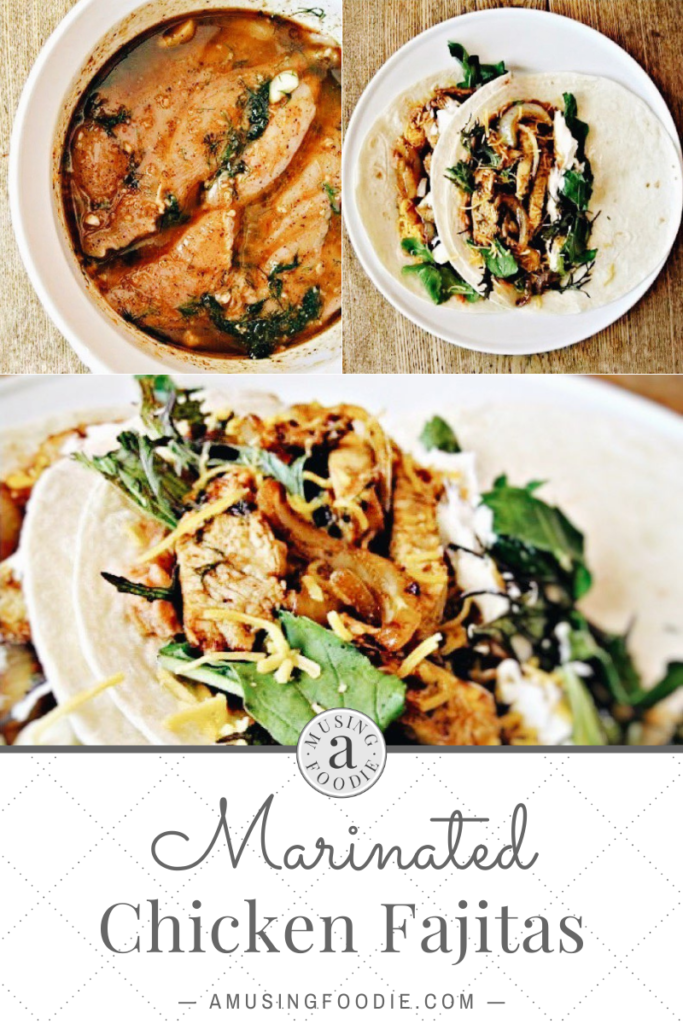 Series of photos of chicken fajitas for Pinterest
