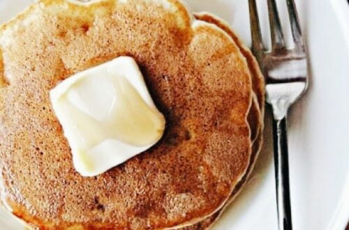 Banana pancakes on a plate