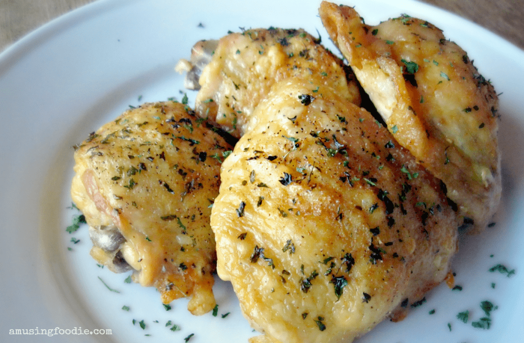 Easy Oven Fried Chicken Thighs with Perfectly Crispy Skin!