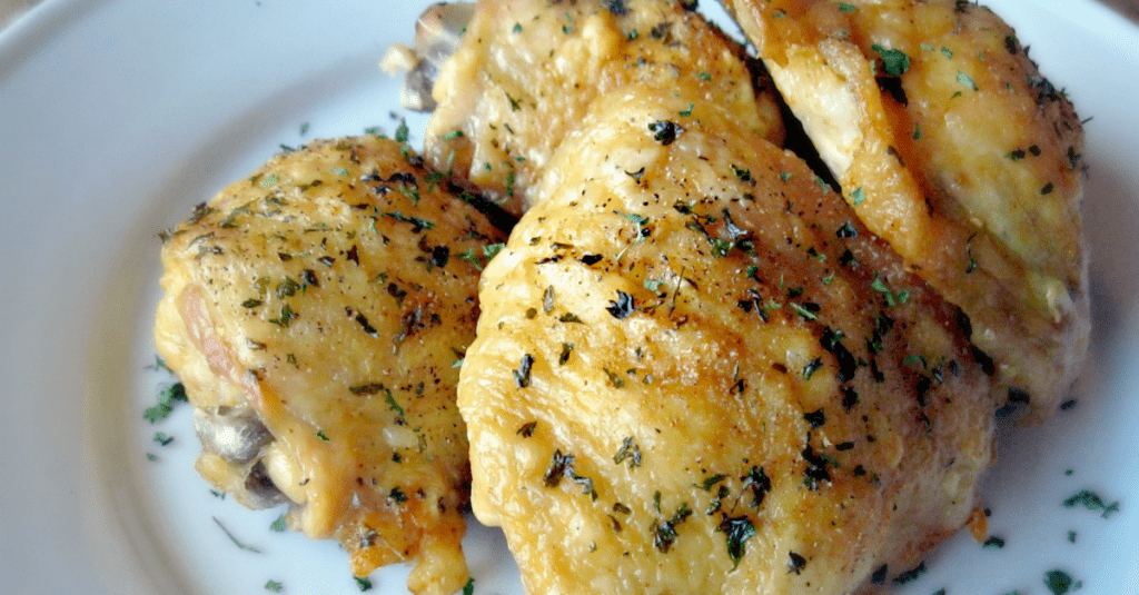Oven Fried Chicken Thighs with Perfectly Crispy Skin!