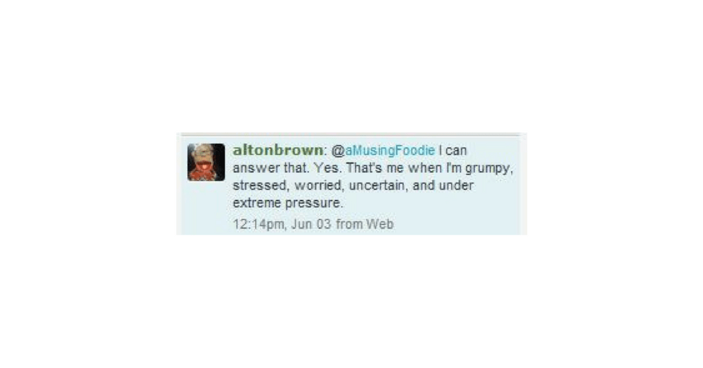 So, it turns out Alton Brown tweets back!