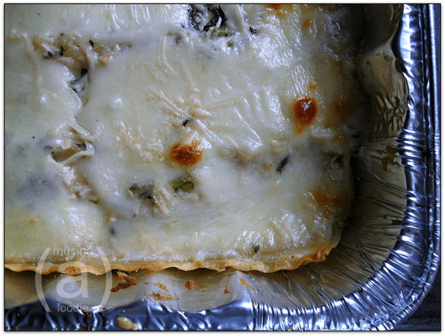 Creamy chicken and portobello white lasagna