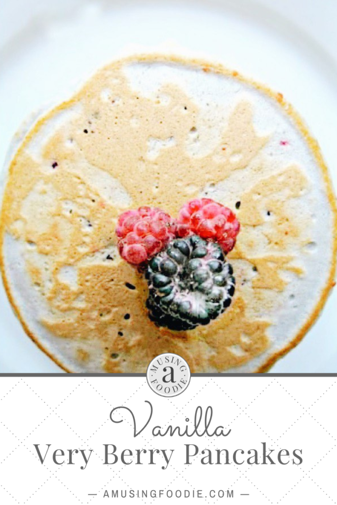 Pancakes with berries on top.