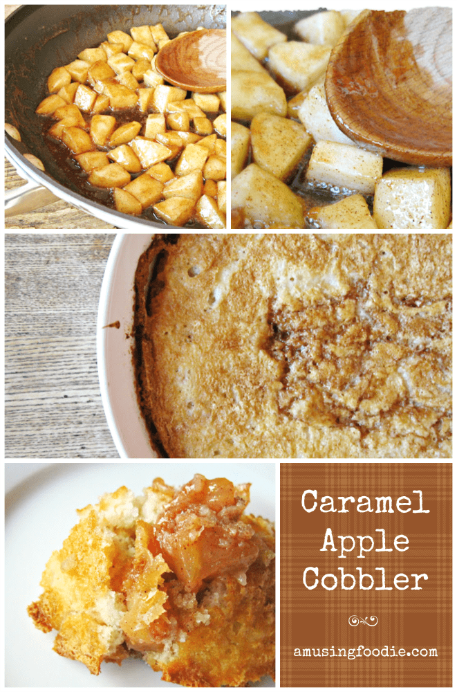 Caramel apple cobbler is a simple and delicious alternative to traditional apple pie. It's a perfect fall dessert! Yum!