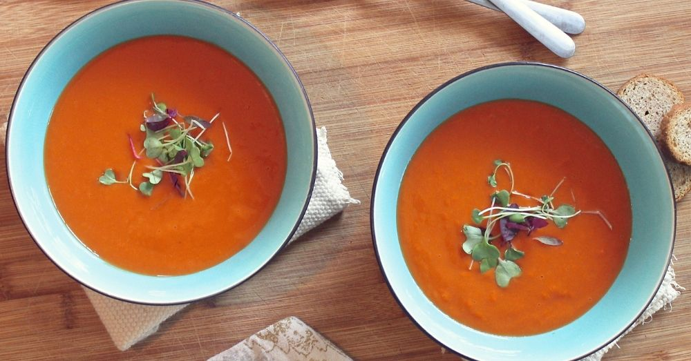Homemade soup served in bowls