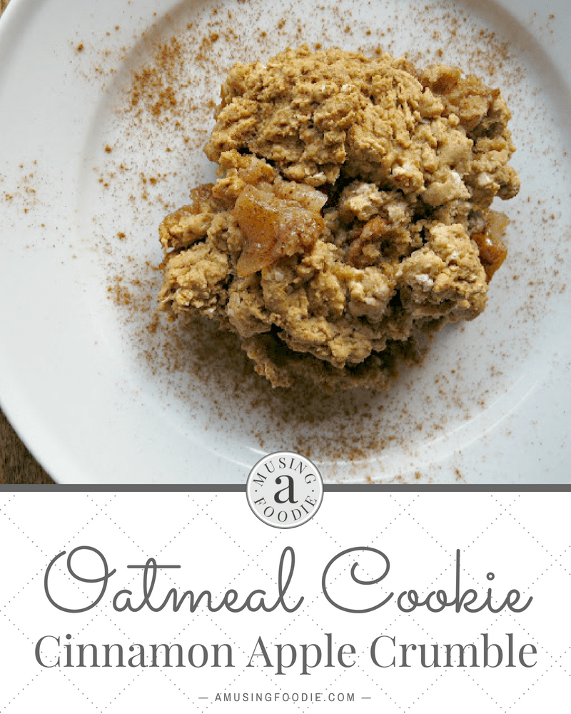 This oatmeal cookie cinnamon apple crumble is like a marriage between cobbler and oatmeal cookies. Yum!