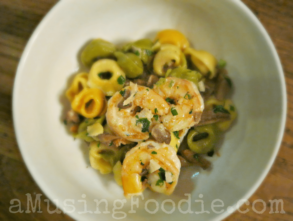 Shrimp and Bacon Parmesan Tortellini recipe for an easy weeknight dinner.