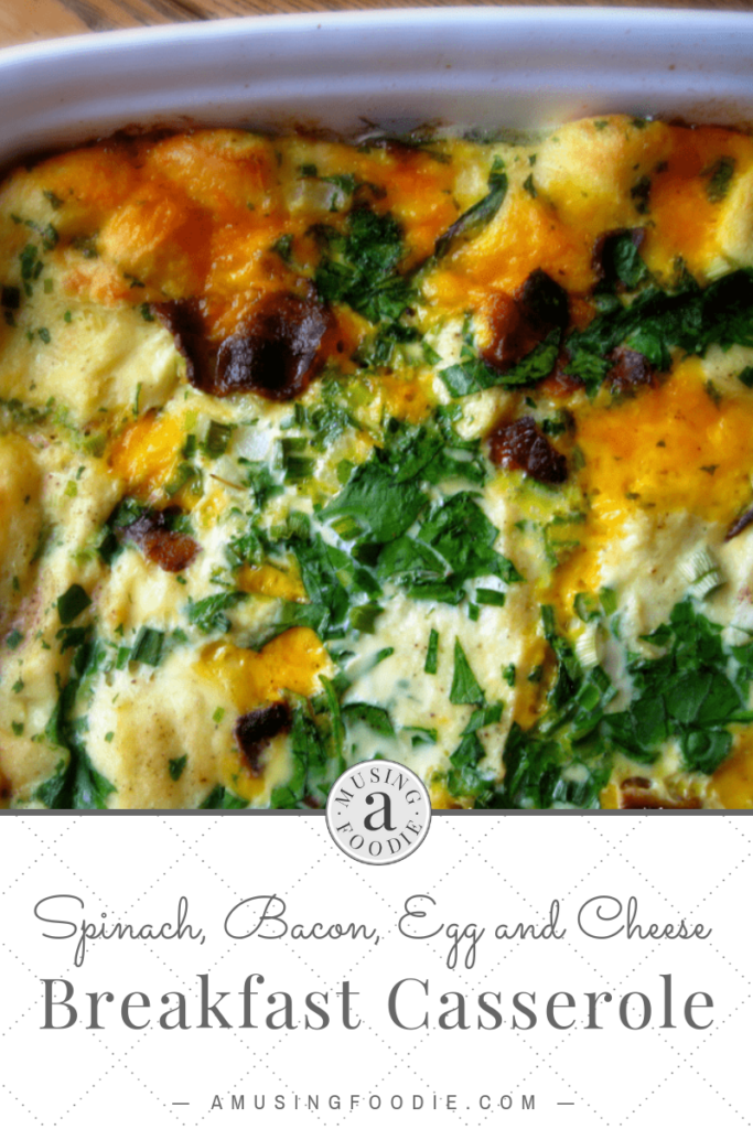 This spinach, bacon and egg breakfast casserole is a great make-ahead meal to serve for breakfast on a holiday or vacation morning!