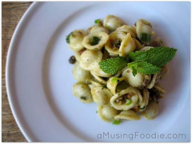 This creamy parmesan and pistachio orecchiette is the right mix of simple ingredients and big flavor!