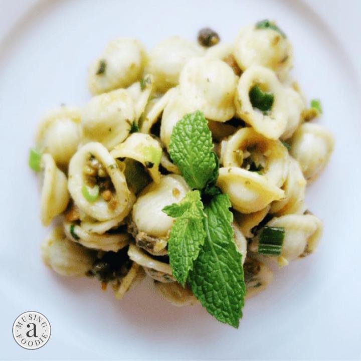 Orecchiette pasta with pistachios and parmesan