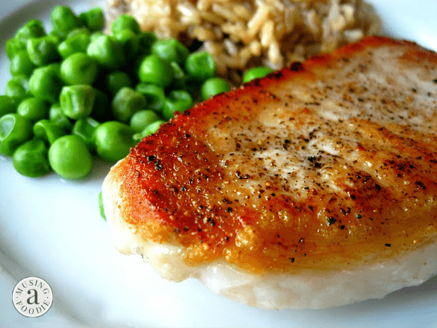 Serve these juicy 8 Minute Pork Chops with peas and Minute® Ready to Serve Whole Grain Brown Rice on the side.