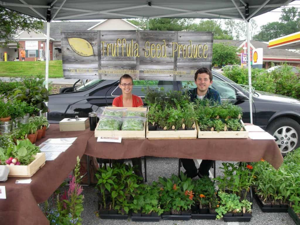 Josie and Shawn at the Farmers' Market with Truffula Seed Produce
