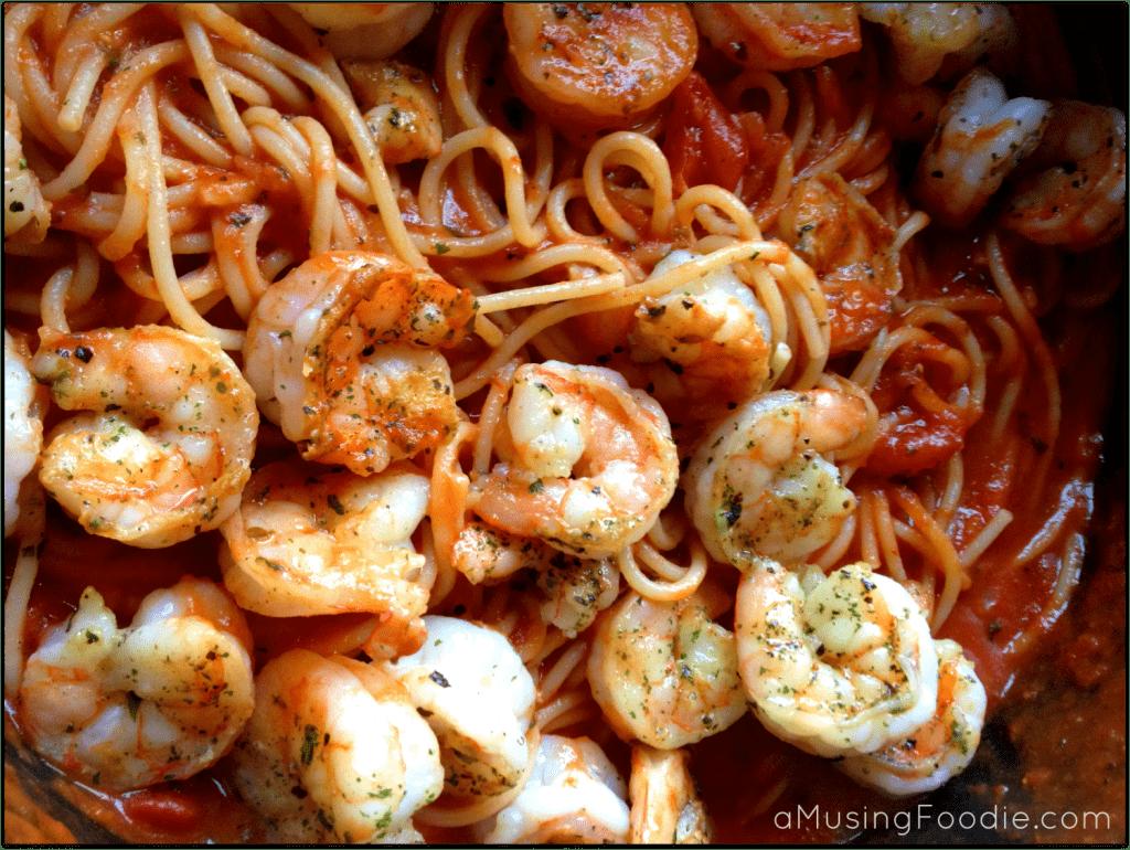 Seared Shrimp with Spaghetti Marinara