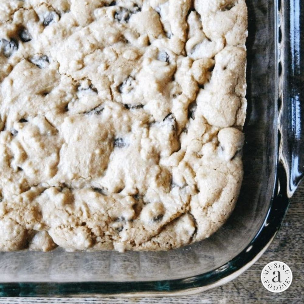 Freshly baked chocolate chip cookie bars