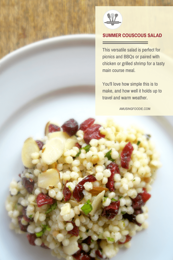 This versatile summer couscous salad is perfect for picnics and BBQs or paired with chicken or grilled shrimp for a tasty main course meal.
