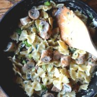 Farfalle With Garlic Parmesan Cream Sauce and Pan-Seared Chicken Sausage