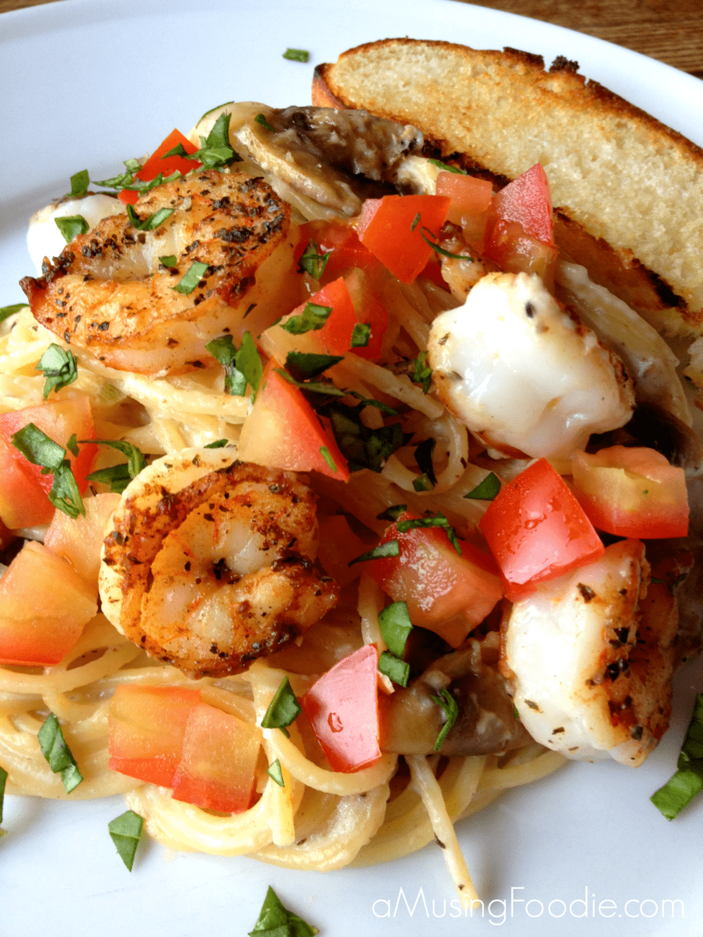 Seared Salt and Pepper Shrimp over Thin Spaghetti with a Mushroom and ...