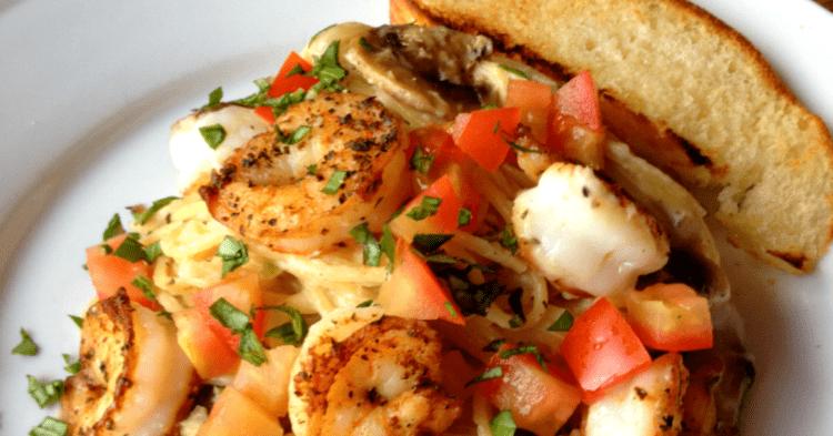 Seared Salt and Pepper Shrimp over Thin Spaghetti with a Mushroom and Garlic Cream Sauce