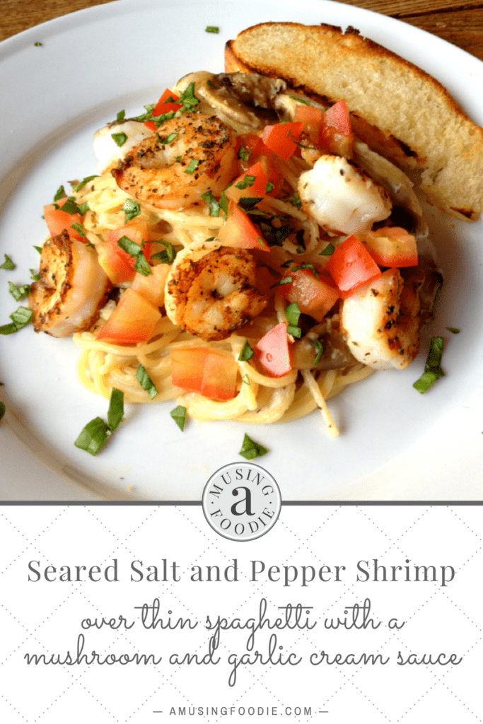 Seared salt and pepper shrimp over thin spaghetti with a mushroom and garlic cream sauce sounds like a fancy dinner, but it's actually super easy!