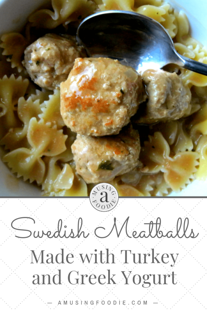 Making Swedish meatballs with ground turkey and Greek yogurt is a great alternative to the traditional recipe. Serve them and the gravy over pasta and enjoy!