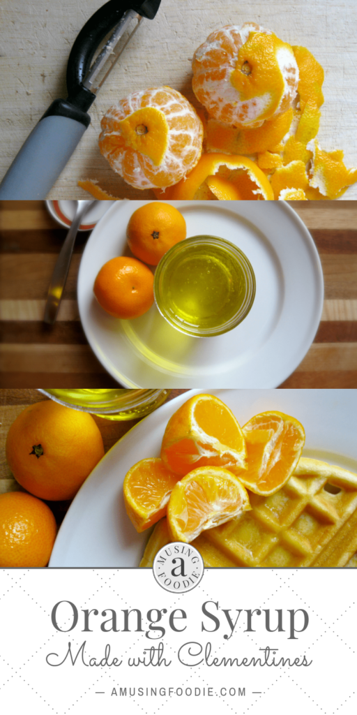 Homemade orange syrup made with clementines has a mild and light orange scented citrus flavor.