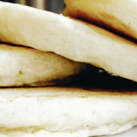 Stack of fluffy homemade pancakes