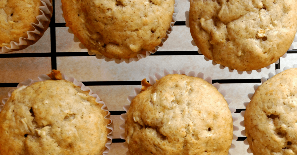 Zucchini Banana Muffins on a rack cooling