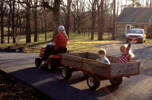 Kids in a wagon riding on a road