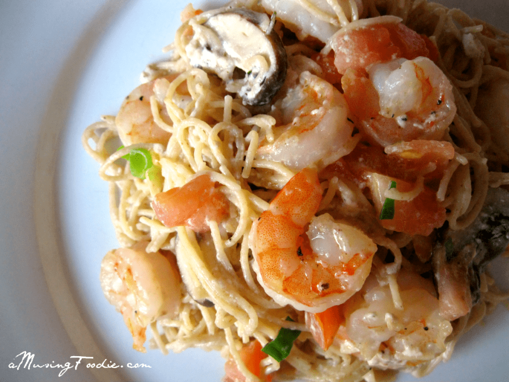 Seared Shrimp with Whole Wheat Pasta