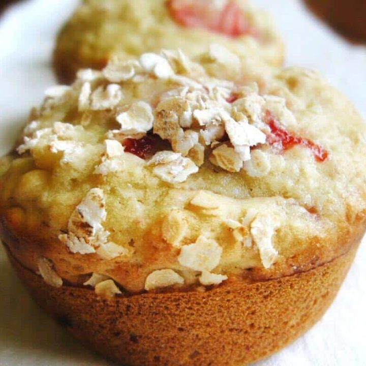 Whip up these tasty strawberry banana oatmeal muffins in no time!