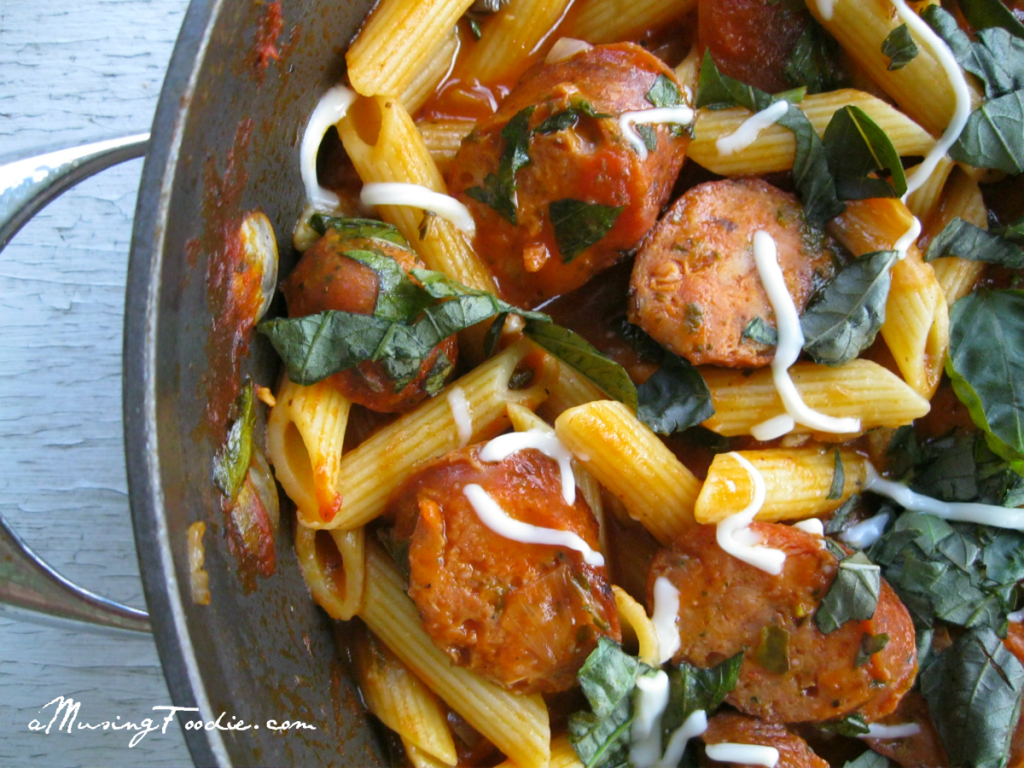 Rustic penne with chicken sausage is an easy dinner you can pull together any night of the week!