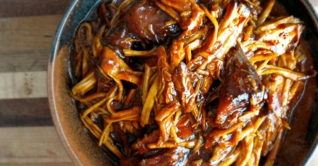 """Easy slow cooker pork BBQ is perfect for those days when you need a """"set it and forget it"""" recipe that can be thrown together minutes."""