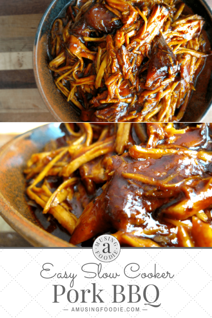 "Easy slow cooker pork BBQ is perfect for those days when you need a ""set it and forget it"" recipe that can be thrown together minutes."