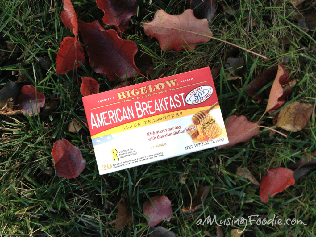 Bigelow American Breakfast Tea: In autumn, when the leaves are falling, a fire's going in the fireplace and the air is crisp, a warm mug of tea totally hits the spot.