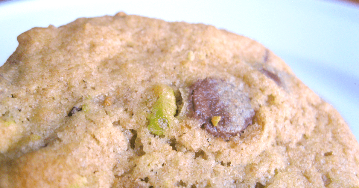 Chocolate chip cookies with pistachios.
