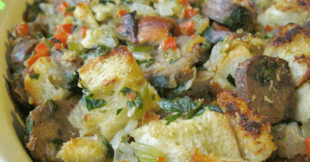 This warm and comforting vegetarian sausage stuffing will please a crowd!