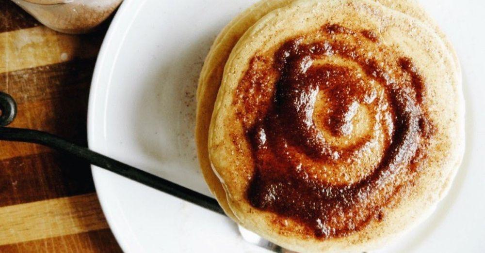 Cinnamon sugar pancakes on a plate.