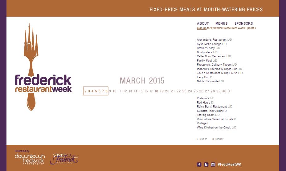 Frederick Restaurant Week 2015