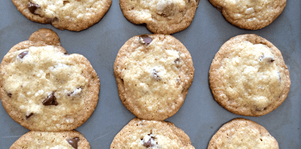 Chocolate chip cookies made with coconut oil are delightful!