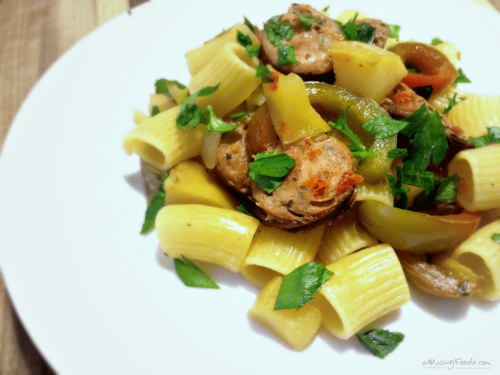 Chicken sausage and apple rigatoni takes about thirty minutes from start to finish, which means it's a snap to pull together on a busy weeknight!